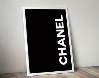 Coco Chanel, Chanel print, fashion print, coco chanel quote, coco chanel poster, chanel poster, quote print, black coco, chanel wall art