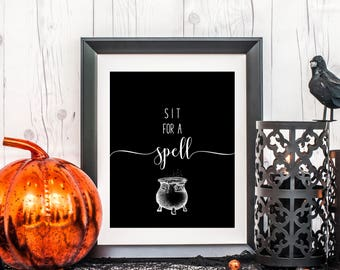 Sit For a Spell Art, 8 x 10 or 11 x 14, Halloween Art Print, Halloween Decor, Home Decor Print, Printed & Shipped