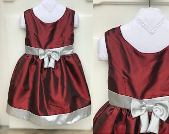 Red taffeta dress girls size 4t - ceremony red burgundy silver girl dress