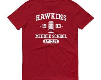 Hawkins Middle School AV Club - Unisex T-Shirt - A.V., 1983, Fan Art, School Shirt, Microphone, Indiana