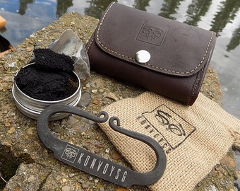 English Flint and Steel Fire Striker Traditional Hand Forged With Char Cloth, Emergency Tinder Jute Bag, and Gognac Leather Pouch Gift Kit