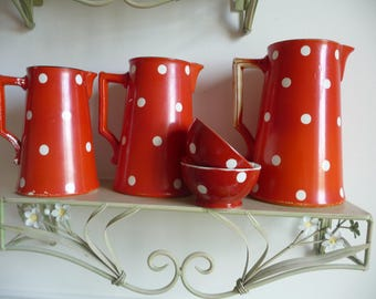 RESERVED SOLD RESERVED French Vintage china jugs and a pair French vintage cafe au lait bowls/red and white polka dots /French china
