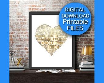 Printable Gold Hanukkah Decoration, Heart, Love, Printable Holiday, Chanukah, Printable Hanukkah 8x10 A4 A3