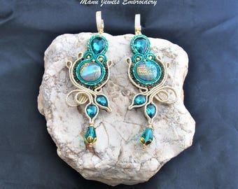 soutache earrings emerald, soutache, soutache jewelry, handmade earrings, soutache jewels, long earrings, soutache embroidery