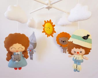 Baby mobile Wizard of Oz Nursery mobile Fairytale mobile Crib Cot mobile Hanging mobile Fairytale baby shower Cloud mobile Sun Felt mobile