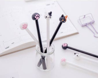 Kitty Cat Pen Pens, Kawaii Kitty - 4 Styles a set, Gel Ink Pen,Kawaii pens, Stationery, Black ink Pen, Scrapbook Planner Writing Tool