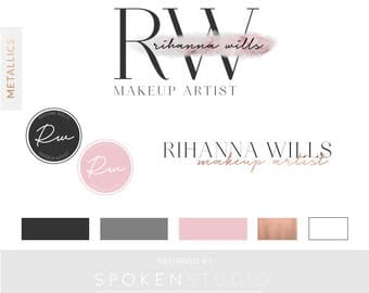 Rose Gold Logo Kit | Blush Rose Gold Logo | Feminine Logo | Premade Logo Design | Make-up Logo, Blog Logo | Branding Kit | Bespoke Logo