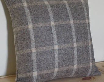 Grey square wollen scatter cushion, Grey with a white and light yellow strips scatter pillow, Gray wool pillow,