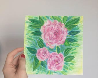 Oil Pastel Rose Drawing