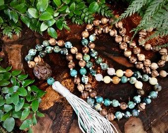 African turquoise mala necklace / Boho mala necklace / Wood mala necklace / 108 mala beads  / Boho mala beads / Mala necklace 108 / 108 mala