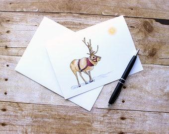 Christmas Cards 2017 - Reindeer Christmas Card - Reindeer Card - Cute Christmas Card - Christmas Note Card - Christmas Reindeer Card
