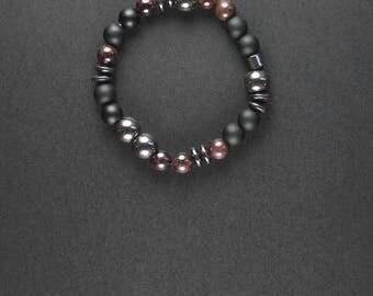 Garnet Shungite bracelet for HIM. Hematite bracelet. Bracelet with shungite, garnet, hematite beads. Gift for boyfriend. Garnet bracelet