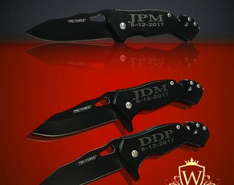 3 Personalized Knifes - 3 Groomsmen engraved gift - Usher & Officiant gift - Personalize engraved tactical knife - Wedding and Birthday gift