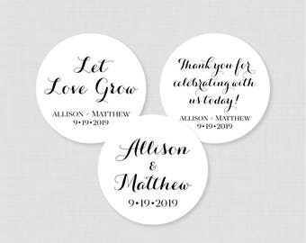 Printable OR Printed Wedding Stickers - Black and White Circle Wedding Labels, Personalized Wedding Favor Tags/Stickers, Calligraphy 0005