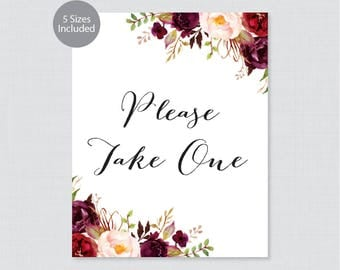 """Printable Please Take One Sign - Marsala Floral Wedding Sign - Rustic Pink Flower """"Please Take One"""" Sign Poster 8x10, 11x14, 16x20 0006"""
