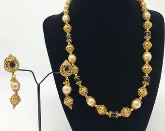 Indian Jewelry - Indian Jewelry Set - Indian Wedding - Indian Bridal - Indian Mala Set - Pakistani Jewelry - Kundan Jewelry - Indian Earring