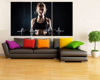 Girl Gymnastic Wall Art, Motivation Poster, Dumbbells Weightlifting Canvas Print, Extra Large Bodybuilding Art, Gymnastics Equipment  LC083