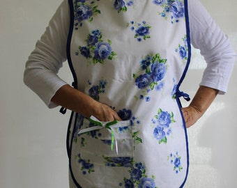Blue and White Apron