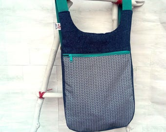 Mochila mujer tejana mar sashiko: Mochila tejana azul - Estampado japonés - Mochila de tela moderna - mochila urbana, bolso azul para libros