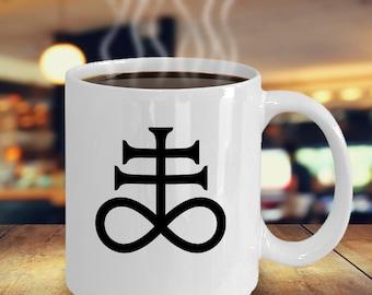 Esoteric coffee mug - Leviathan Cross satanic symbol - Lucifer satan 666 gift accessories