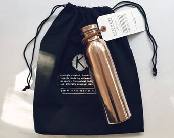 100% Copper Ayurvedic Water Bottle from India (Seamless and Leak proof)