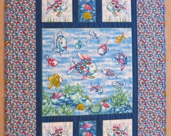 Rainbow Fish quilt, handmade, Rainbow Fish blanket, wall hanging, lap quilt, baby, toddler, girl gift, gender neutral, Rainbow Fish bedding,