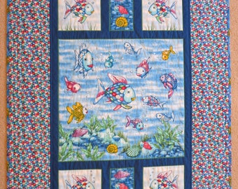 Rainbow Fish quilt, Rainbow Fish blanket handmade wall hanging lap quilt baby toddler girl gift  Rainbow Fish bedding reversible