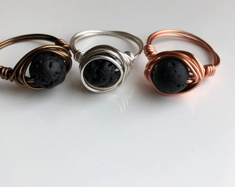 Ring, Lava Ring, Silver Ring, Bronze Ring, Copper Ring,  Diffuser Ring, Essential Oil Ring,  Aromatherapy Ring , Minimalist, boho
