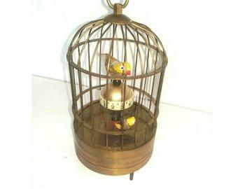 Vintage Novelty Birdcage Alarm Clock Handwind Clockwork Collectible (3473)