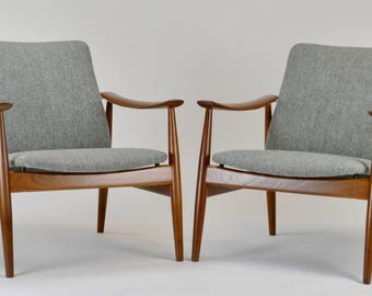 Finn Juhl for France & Son Model 138 Danish Lounge Chairs - a Pair