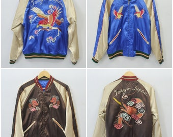 Toyo Enterprise Vintage Tailor Toyo Enterprise Japanese Traditional SUKAJAN Dragon Phoenix Tokyo Japan Souvenirs Reversible Jacket size S