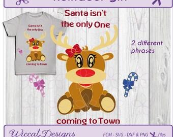 Girl Reindeer svg, Baby girl svg, rudolph svg, Christmas svg, baby svg, kids svg, santa svg, dxf cut file, scanncut, svg cricut, fcm file