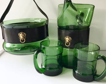 Vintage Glass Barware Set, Hand Blown Green Glass, Leather Wrap, Pitcher, Ice Bucket, Mugs, Glassware Set, Mid Century Barware, Gift for Him