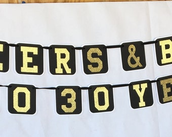 Cheers and Beers to 30 Years-30th Birthday Decoration-30th Birthday for Him- Cheers and Beers Banner-Mens Birthday Party Decor-30th Birthday