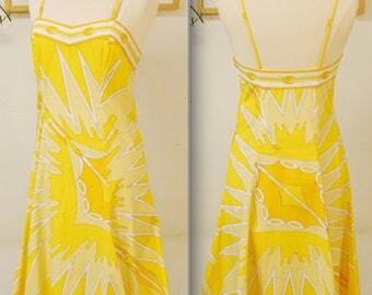 1960's/70's Yellow EMILIO PUCCI Summer Dress / Shift Dress / Wiggle Dress / Mad Men / Rare Collectable Retro