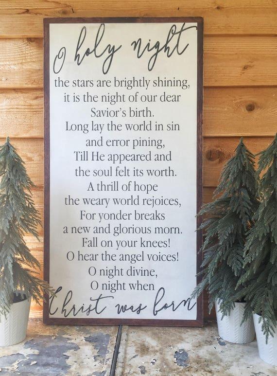 O Holy Night O Holy Night Sign Christmas Song Lyrics