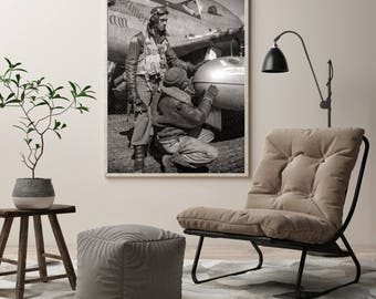 African American Art, Tuskegee Airmen,  Black History, WWII Portrait of Black Tuskegee Pilots, Black & White Photography, Military, 1945