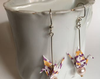Origami Crane Earrings - Purple, Yellow, and Gold