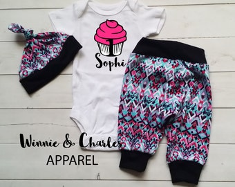 Birthday Girl Cupcake Outfit, Baby Girl Outfit, Cupcake Onesie, Birthday Outfit