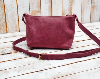 Leather crossbody bag / Leather Satchel / Minimalist bag / Small leather bag / Leather purse / Simple leather bag