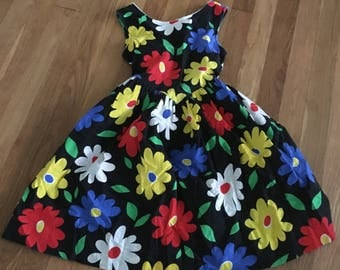 1960's black multicolor floral strapless dress - size 7