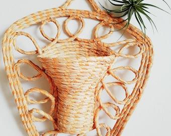 Straw Raffia Woven Swirl Hanging Basket