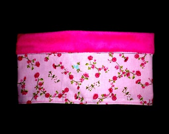 Pink Snood pink minkee and cotton with small flowers