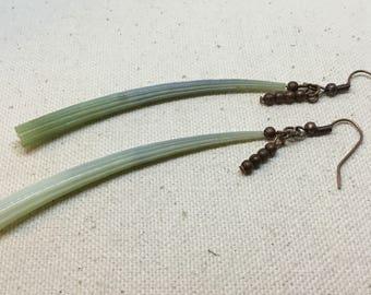 Green Dentalium Shell With Copper Beads Dangle Earrings