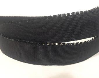 1/3/5 Yards - 20mm Black Plush Backed Picot Elastic