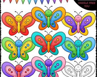 Colorful Butterflies Clip Art and B&W Set
