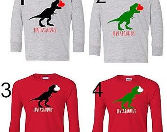 Boy's Dinosaur Valentine's Day Shirt, Loveasaurus Shirt, Toddler Boy's Valentine's Day Shirt, Dinosaur Shirt