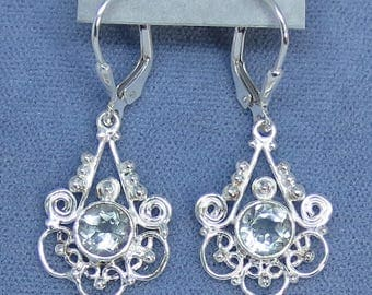 Natural Prasiolite Green Amethyst Leverback Filigree Earrings - Sterling Silver - 171335 - Free Shipping to the USA