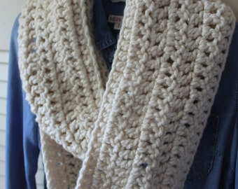 Chunky Infinity Scarf in Champagne (off-white with gold flecks)