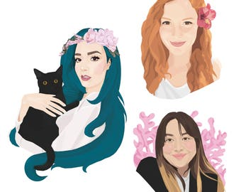Custom portrait, Personalized portrait, Couples portrait, Family portrait, Pet portrait, Pet memorial, Gift, Illustration, Anniversary